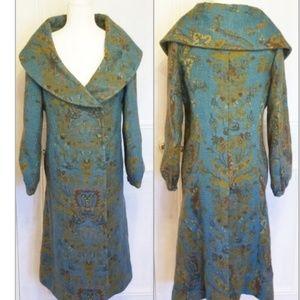 MOKSHA 100% wool & silk blue damask coat